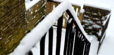Free Shallow Focus Of Black Stair Frames Covered In Snow Stock Images - 111823854