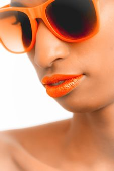 Free Closeup And Selective Focus Photograph Of Woman Wearing Orange-framed Wayfarer-style Sunglasses Stock Photography - 111823882