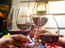 Free Four Wine Glasses With Red Wine Stock Photography - 111824152