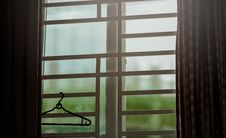 Free Black Clothes Hanger Hanged On Window Stock Images - 111894454