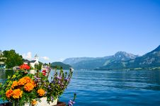 Free Orange And Red Flowers In Front Of Body Of Water Stock Photography - 111894512