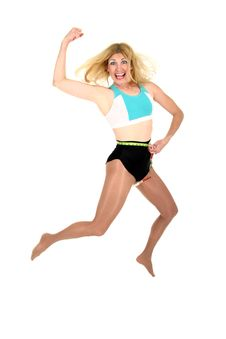 Free Jumping For Joy At Weight Loss 3 Royalty Free Stock Photos - 1120838