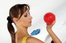 Training Exercise With A Spike Ball Royalty Free Stock Images