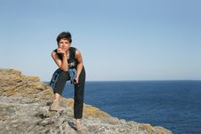 Woman And The Sea Stock Photography