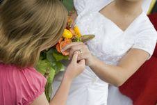 Free Little Girl Admires Bride S Wedding Ring Stock Image - 1124631