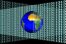 Stock Image Of Earth And Binary Code Stock Images