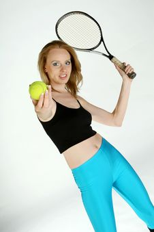 Free Girl With Tennis Racket Stock Images - 1125344