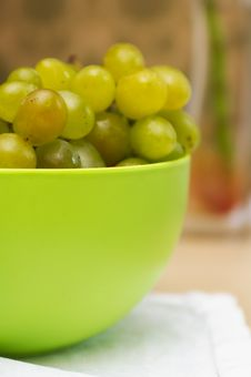 Green Basin Of Ripe Green Grapes
