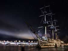 Free Sailing Ship, Tall Ship, Ship, Night Royalty Free Stock Photo - 112041535