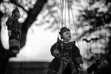 Free Grayscale Of Two String Puppets Royalty Free Stock Photos - 112090078