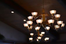 Free Turn On Brown Uplight Chandelier Stock Photos - 112184603