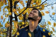 Free Man With Blue Denim Zip-up Jacket Near Yellow Leaf Tree Stock Photo - 112184740