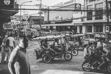 Free Grayscale Photo Of Motorcycles And People Stock Image - 112308801