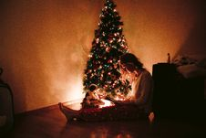 Free Photo Of Woman Sitting Near The Christmas Tree Royalty Free Stock Image - 112363776