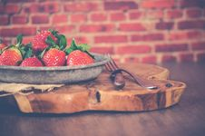 Free Strawberries On Gray Steel Bowl Stock Photography - 112454992