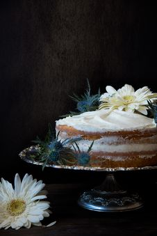 Free Cake With Icing On Top Silver Cake Stand Royalty Free Stock Photos - 112455038