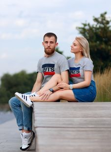 Free People, Blue, Photograph, Sitting Stock Images - 112592844