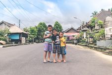 Free Three Boys Standing On Road Stock Photography - 112738612