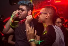 Free Two Man Wearing Eyeglasses Standing Under Red Led Light Stock Photo - 112738630
