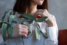 Free Woman Holding Green Leaf Plant Stock Photography - 112738732