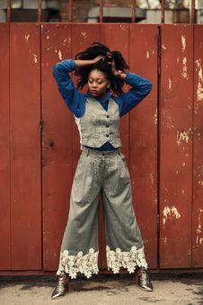Free Woman Wearing Blue Dress Shirt, Gray Waistcoat, And Pants Stock Photo - 112809540