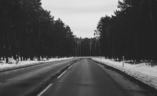 Free Monochrome Photography Of Roadway During Winter Stock Image - 112878131