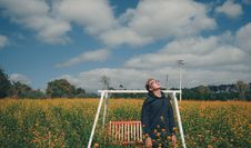 Free Man Standing On Bed Of Yellow Flowers Near Bench Swing Stock Photos - 112878213