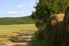 Free Round Bales Of Hay Beside A Shaded Country Lane Stock Photography - 1130242