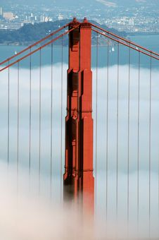 Golden Gate Bridge Under Fog Royalty Free Stock Photo