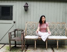 Free Korean Woman On A Bench Royalty Free Stock Photography - 1131397