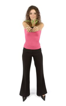 Woman With Plant Royalty Free Stock Images