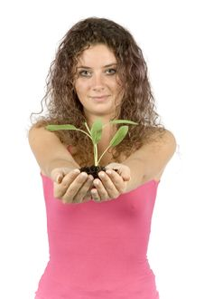 Free Woman With Plant Royalty Free Stock Image - 1134386