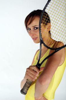 Free Posing With Tennis Racket Stock Image - 1135821