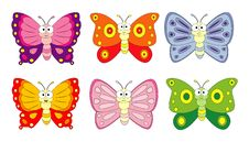 Free Set Of 6 Cartoon Butterfly. Vector Illustration Isolation On White Background. Stock Photos - 113003373