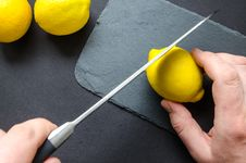 Free Photo Of Person Slicing Lemon Royalty Free Stock Images - 113035989