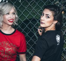 Free Woman Wearing Black Shirt Beside Woman Wearing Red Shirt Stock Photography - 113036022