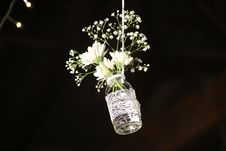 Free Photo Of White Flowesr On Clear Glass Bottle Stock Photos - 113232333