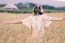 Free Woman In White Mesh Dress Surrounded By Brown Plants Royalty Free Stock Photography - 113295117