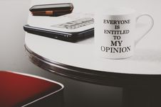 Free Photo Of White Everyone Is Entitled To My Opinion Printed Mug Royalty Free Stock Image - 113295226