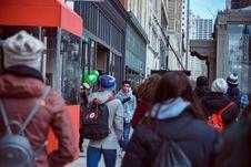 Free People Walking On Sidewalk Stock Image - 113349601