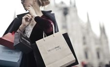 Free Woman Holding Shopping Bags Stock Images - 113349694