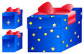 Free Present Blue Box Red Bow Stars Royalty Free Stock Photo - 11344455