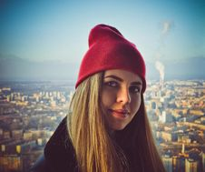 Free Woman Wearing Red Beanie Stock Image - 113416761