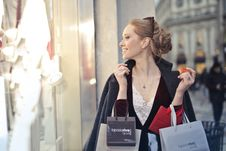 Free Woman Wearing Black Blazer Holding Shopping Bags Royalty Free Stock Photography - 113417077