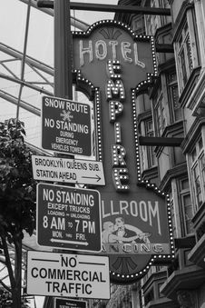 Free Grayscale Photo Of Hotel Empire Signage Royalty Free Stock Image - 113472936