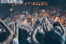 Free Group Of People Raise Their Hands On Stadium Stock Image - 113472971