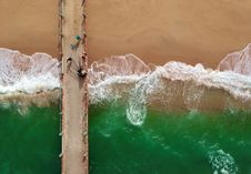 Free Bird S Eye View Of People On Boardwalk Stock Images - 113539914