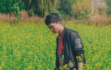 Free Man Wearing Black Jacket On Yellow Flowers Royalty Free Stock Images - 113540099