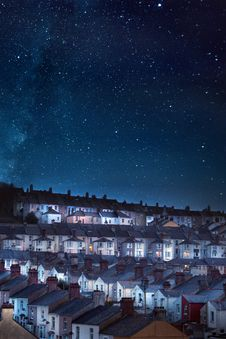 Free Photo Of Houses Under Starry Skies Stock Photography - 113540152