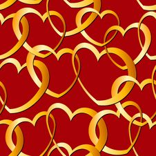 Seamless Golden Heart Pattern Royalty Free Stock Photography